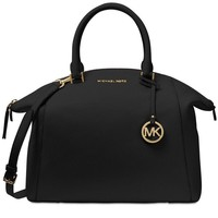 One-nice™ New MICHAEL KORS MK Riley Large Satchel Bag black leather tote gold tone handbag