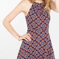 Floral Diamond Print Fit And Flare Halter Dress from EXPRESS
