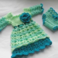 Handmade baby dress with diaper cover in turquoise color