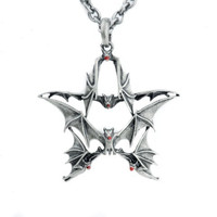 Gothic Bat Pentacle Necklace Vampire Pendant