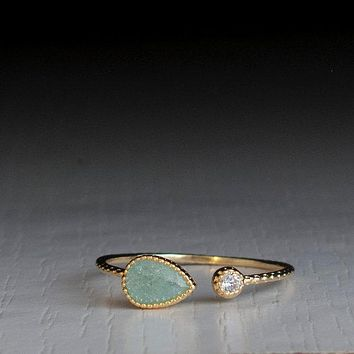 Dainty Silver Color Golden Pear Shape Green Stone Open Ring for Women Wedding Adjustable Engagement Rings Party Jewelry Gifts