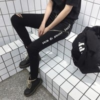 """""""Chrome Hearts"""" Women Personality  Ripped Gothic Letter Jeans Irregular Show thin Zip Pencil Pants Trousers"""