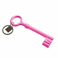 Giant Key Keychain in Pink or Black Silicone