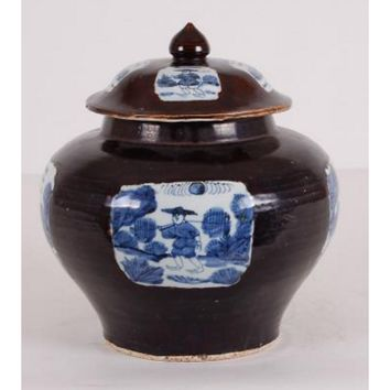Asian Brown Wide Chinese Jar