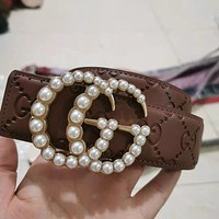GG mens and womens pearl buckle double G letter smooth buckle belt-2