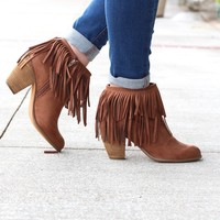 Not Rated: Auriga Fringe + Chain Suede Booties {Tan}