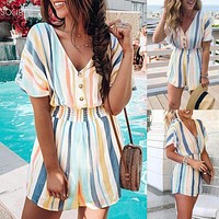 2020 New Products Women's Fashion Print Color Striped V-Neck Button Jumpsuit