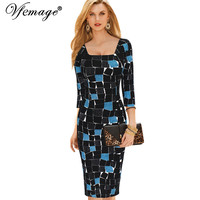 Vfemage Womens Elegant Square Neck Tunic Print Wear to Work Business Office Casual Bodycon Stretch Fitted Dress 4098