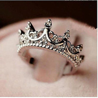 Cool Bling Bling Elegant Queen Silver Crown Clear Crystal Ring