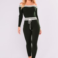 What I Love Knit Jumpsuit - Hunter Green