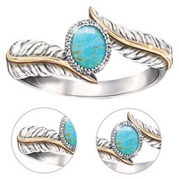 Silver Plated Turquoise Feather Ring Women Jewelry Gift Party Wedding Cute