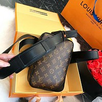 LV Louis Vuitton New Fashion High Quality Monogram Leather Bag Waist Crossbody Women Shoulder Bag Coffee