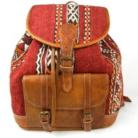 Kilim and Brown Leather Backpack