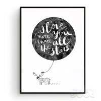 Watercolor Love Quote with Deer Canvas Art Print Painting Poster, Wall Pictures For Home Decoration, Wall Decor S006