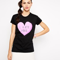 Adolescent Clothing Boyfriend T-Shirt With I Hate You Heart Print