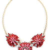 Red Delicate Floral Bib Necklace