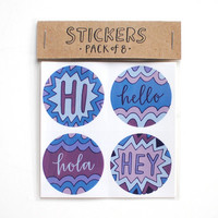 Round Stickers // Hi, Hello, Hola, Hey, Blue and Purple, Envelope Seals, Hand Lettered, Stationery Supply, Set of 8, Ready to Ship