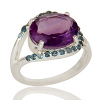Amethyst and Blue Topaz Gemstone 925 Sterling Silver Solitaire Ring