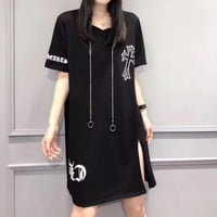 """Chrome Hearts"" Fashion Personality Retro Letter Pattern Print Short Sleeve T-shirt Split Mini Dress"