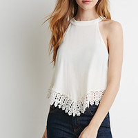 Crochet-Trimmed Crepe Top
