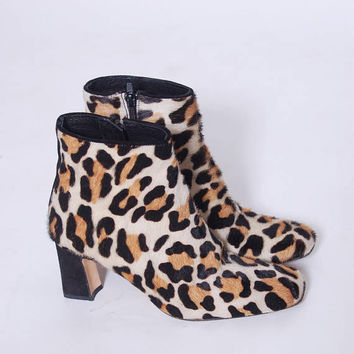 Vintage LEOPARD Boots 80s ANIMAL Print Boots Timothy Hitsman Shoes 80s Pony Hair Ankle Boots