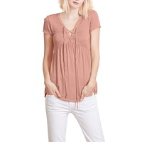Flowy Lace Up Front Short Sleeve Jersey Top (CLEARANCE)