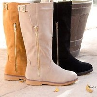 Womens Flat Round Toe Faux Suede Buckle Zipper Knee High Riding Boots Shoes