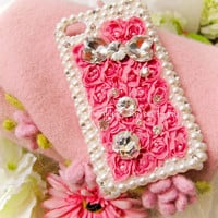 Original Pink Rose Crystal Bling Bling Phone Case