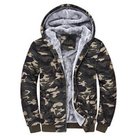 Winter new men 's hoodies Fashion street men warm and velvet plus thick cardigan jacket Camouflage printed hooded men's clothing