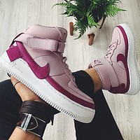 Nike Air Force 1 High Tops Light Purple Women Basketball Shoes Contrast Sneakers Shoes