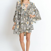Floral Trumpet Sleeve Tunic - Silver Mix (PRESALE)