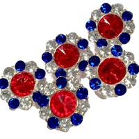 25mm red, white & blue 4th of July metal rhinestone button w/ shank