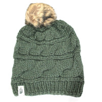 The North Face Women's Triple Cable Fur Pom Oscar Green Beanie Hat