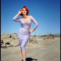Laura Byrnes - Monica Dress in Lavender and Silver Lurex Knit | Pinup Girl Clothing