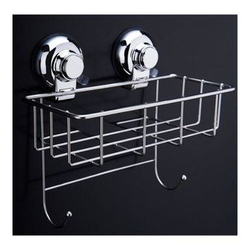Vacuum Suction Cup Bathroom Kitchen Storage Basket with 2 hooks