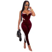 Women Jumpsuit Small to XXL Sexy Skinny Pants Set Plus Size Up to 2X Low Neck Line