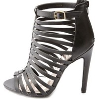 Strappy Caged Single Sole Heels by Charlotte Russe - Black