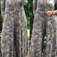 New Camouflage Pockets Deep V-neck Hooded Long Sleeve Casual High Waisted Wide Leg Palazzo Long Jumpsuit