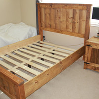 Wood Bed Frame   Bed Frame   Farmhouse Bedframe   Twin Full Queen King Wood Bedframe   Solid Wood Bed