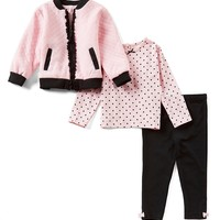 Little Me Baby Girls 12-24 Months Jacket, Dotted Tee, & Leggings 3-Piece Set | Dillards
