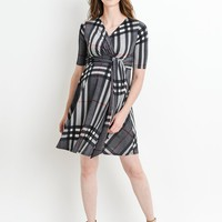 Mad about Plaid Side Tie Maternity & Nursing Dress- FINAL SALE
