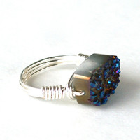 Druzy Ring Midnight Blue Quartz Titanium Rectangle Geode Bead Silver Plated Wire Wrapped Size 7 1/2