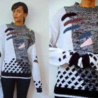 Vtg Abstract Print Black White Extra Long Sleeve Knitted Sweater