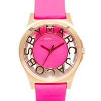 Pink Leather Strap Watch