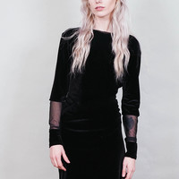 Truant - black velvet mini dress with low scoop back and long sleeves