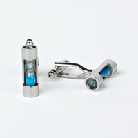 Rhodium Plated Sand Timer Cufflinks with Engraved Box