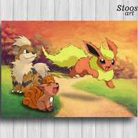 flareon pokemon decor vulpix growlithe pokemon print