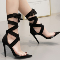 Hot style hot selling pointed film suede strap sandals