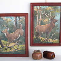 pair of vintage paint by number deer pictures by KatyBitsandPieces