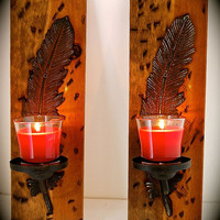 "Distressed Stained Wood and Iron Feather Sconces-Native American- Rustic Sconces-17"" Tall x 5.5"" Wide x 5.5"" Total width- WONT LAST LONG"